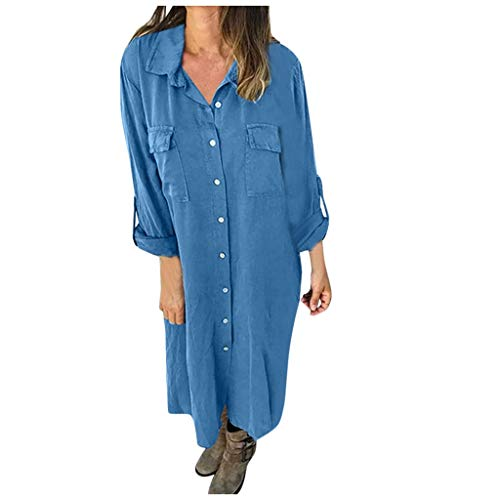 SamMoSon_Femme Chemisier été Femme Casual Robe Courte Blouse Shirt Manches Longues Chic Tops Tunique Longue Fluide Bouton Ample