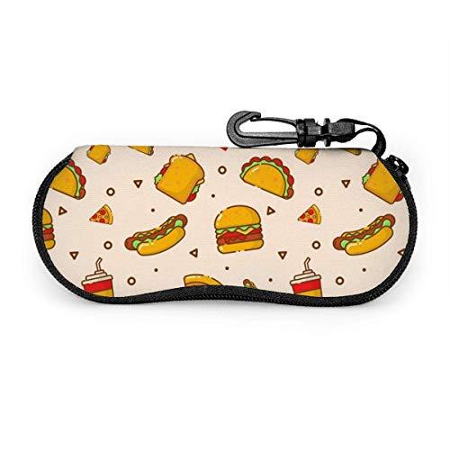 AOOEDM Cartoon Hot Dog Taco Burger Pizza y bebida Estuche portátil para anteojos Gafas resistentes a la abrasión Estuche protector Bolsa de gafas de sol suave con mosquetón para la escuela, la oficin