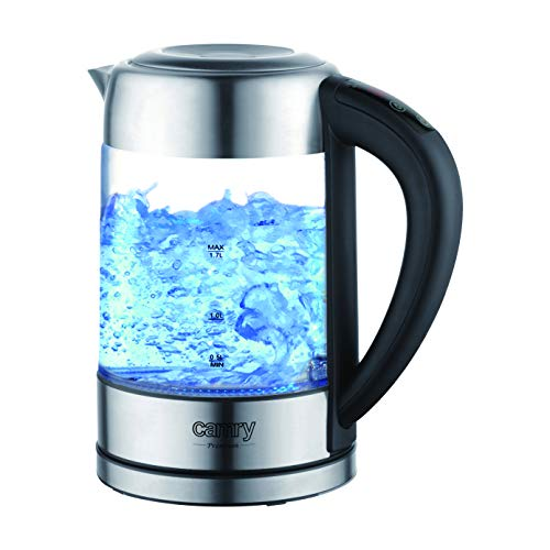 CAMRY CR 1289 Wasserkocher aus Glas, Edelstahl, 1,7L, Temperatureinstellung 60-100C°, digitaler Glaswasserkocher mit Farbwechsel, 2200 W, LED Beleuchtung, Kalkfilter, 360 Grad