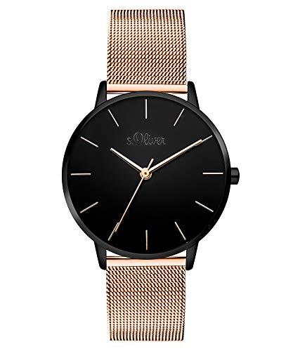 s.Oliver Damen Analog Quarz Armbanduhr mit Edelstahl Armband SO-3530-MQ