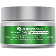 All Natural Advice Daily Moisturizer with Peptide and Hyaluronic Acid Canadian Made Organic and Age-Defying Skincare for Face and Neck   Anti-Aging Complex for Natural Skin Tone and Healthy Radiance   120 ml   Double the Size