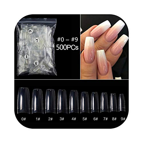 Autocollants à ongles d'été 100 / 500pcs / sac Faux ballerine Naturel/Transparent Faux Ongles Manucure Ongles Pour Extension & Protection Nail Art-500pcs-FSBJ-clear-,
