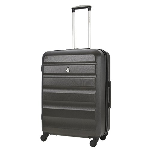 Aerolite Medium 25in Lightweight Hard Shell 4 Wheel Travel Hold Checked Check in Luggage Suitcase Charcoal