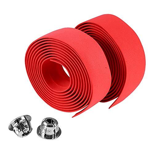 GLOGLOW 2 stuks waterdicht fiets bar type, antislip fietsen racefiets stuur reflecterende grip wrap tape 2 bar plugs (rood)