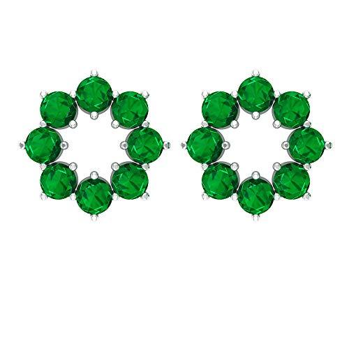 Rosec Jewels 10 quilates oro amarillo redonda Green Zafiro azul Leb creado