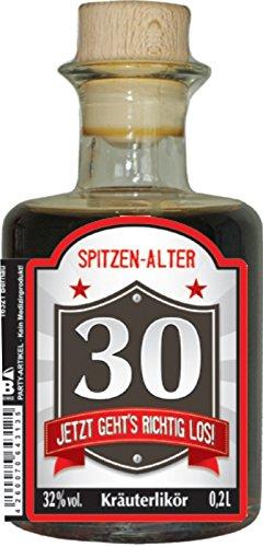 Original Harzer Kräuterlikör 32% vol. zum 30. Geburtstag für Männer Geburtstagsgeschenk 0,2L Apothekerflasche mit Holzgriff Korken Humor Apotheke Schnaps Likör (30 Jetzt geht's richtig los 50529)