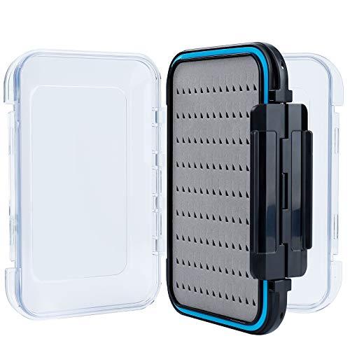 MaoXinTek Fliegenfischen Box, Spoonbox Wasserdicht Fliegendosen Deckels Angelkasten, Doppelseitig Transparente Kunststoff Köderbox Angelzubehör(15 * 10 * 4.5cm)