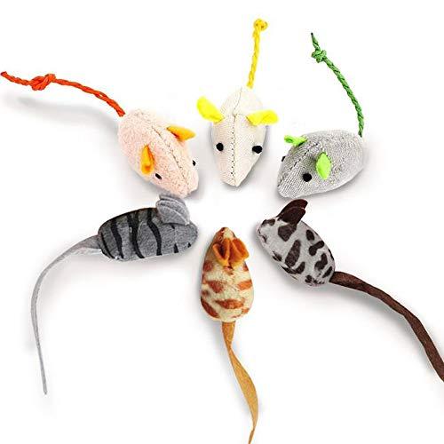 KTL 6 Paquetes de Juguetes para Ratones Catnip para Gatos Peludo Ratón Gato Gatito Que juegan a Masticar Dientes Limpieza Realista Juguete de Felpa Juguete Suave para Mascotas Masticar Gato Gatito