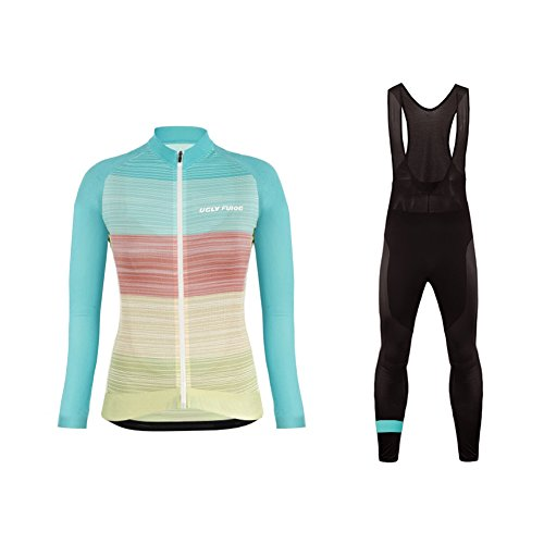 BurningBikewear Uglyfrog Clásico Ciclismo Maillot Mujers Jersey + Pantalones Largos Culote Mangas...
