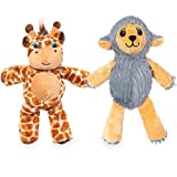Best Pet Supplies Dog Chew Toys for Small and Medium Dogs, Tough Interactive Squeaky Plush Stuffed Animal Toys - Giraffe & Sheep, Large, PT524-528
