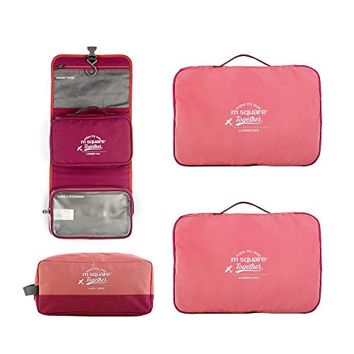 4 Pieces Packing Cubes Set Toiltery Bag for Travel Luggage Organizer Bag with Double Zipper (RED)