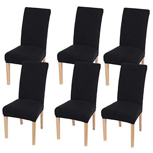 Homaxy Stretch Stuhlhussen Hussen für Stühle Stuhlbezug Waschbar Elastische Moderne Stuhl Esszimmer überzug - Schwarz, 6er Set