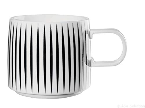 ASA - Henkelbecher - MUGA Henkelbecher Stripes - schwarz/Weiss - Ø 9,5cm, H: 8,6cm, Volumen: 0,35L - Porzellan