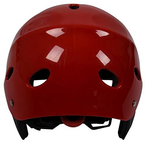 Fltaheroo Casco Protector de Seguridad 11 Agujeros de Respiración para Deportes Acuáticos Kayac Canoa Tabla de Surf Paleta - Rojo