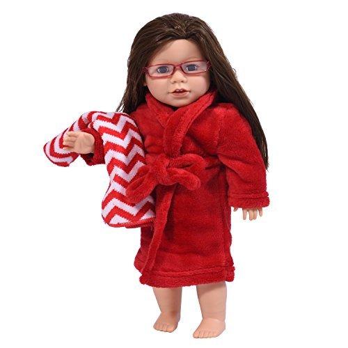 The New York Doll Collection- Bata 45 cm en Color Blanco Adapta American Girl-Albornoz de muñeca y cinturón de Corbata con Toalla (Rojo) (1502288)