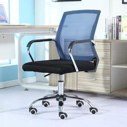 Preisvergleich Produktbild Stationery-Teaching Supplies Bürobedarf Bequemer und langlebiger einfacher Haushalts-Computerstuhl,  Konferenzstuhl,  schwarzer Rahmen,  Schiebe-Rollstuhl (schwarz) blau