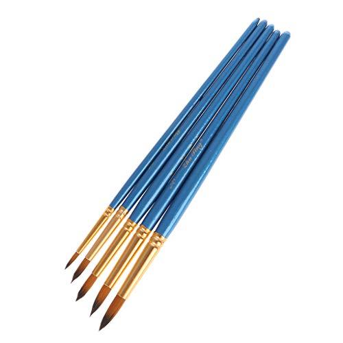 XTYaa 5 x Aquarellpinsel Gouache-Pinsel, runde Spitze, Nylon