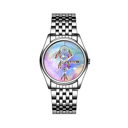 Herren Luxusuhr 30m Wasserdicht Datum Herrenuhr Sportuhren Herren Armbanduhr Quarz Casual Geschenk Schöne Trendige wunderliche Traumfänger Federn Uhren