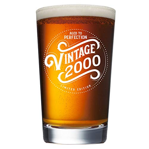 21st Birthday Gifts for Him - Vintage 2000 16 oz Beer Pint Glass - 21st Birthday Ideas for Him - 21st Birthday Gifts for Men - 21 Year Old Gifts Decorations