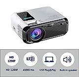 Mini proiettore con 65.000 ore e 4500 Lumen LED, video Full HD 1080P con doppio altoparlante incorporato per HDMI, VGA, PS4, TF, AV, laptop, telefono (e500)