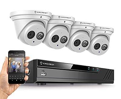 Amcrest 4K Security Camera System w/ 4K 8CH PoE NVR, (4) x 4K (8-Megapixel) IP67 Weatherproof Metal Turret Dome POE IP Cameras (3840x2160), 2.8mm Wide Angle Lens, NV4108E-IP8M-T2499EW4 (White)