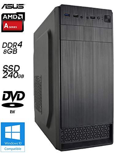 SNOGARD BasicLine Silent Allround & Business PC-Komplettpaket | AMD A8-9600 4x 3.1GHz Bristol Ridge | Turbo 3.4GHz | AMD Radeon R7 | 8GB DDR4 RAM | 240GB SSD | DVD-RW | USB3.0 | Computer für Multimedia, Gaming, Büro/Office