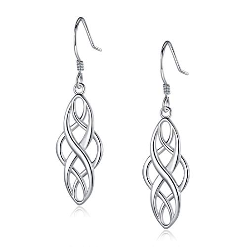925 Sterling Silver Oval Celtic Knot Drop Long Wire Dangle Earrings Hypoallergenic Jewelry for Women Girl