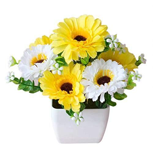 LUCHAO Bonsai Künstliche Chrysantheme Blume Topfpflanze Lebensleine Gypsophila Holztopf Bonsai Home Garten Ornamente Dekoration (Farbe : Yellow)