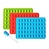 Lizber Gummy Bear Molds 3 Pack, Silicone Candy Molds 50 Cavities with Bonus Dropper (Blue, Green, Red)