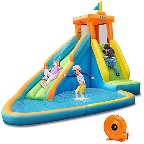 GOPLUS Château Gonflable,Aire de Jeux Aquatique Gonflable avec Zone de Saut et Toboggan pour 3 Enfants de 3 à 10 Ans Jusuq'à 90KG,Toboggan Double pour Fête d'Eau/Été(Souffleur Inclus)