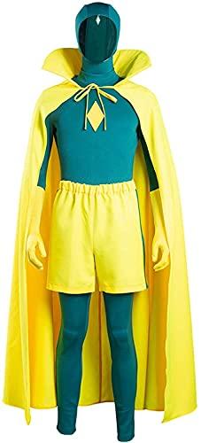 YBINGA Disfraz de disfraz de adulto para hombre, disfraz de superhroe, disfraz de Halloween, cosplay, accesorios de cosplay (color verde+amarillo, tamao: L)