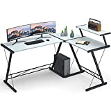 L Shaped Desk Home Office Desk with Round Corner.Coleshome Computer Desk with Large Monitor Stand,PC Table Workstation, White
