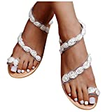 YESMAN Sandalias de mujer con diseño floral y parte inferior plana para mujer, estilo bohemio, sandalias de verano, sandalias de gladiador planas para el dedo del pie del anillo