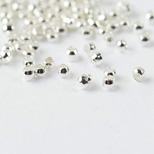 500 Plaqué Argent Round Spacer Beads 3 mm