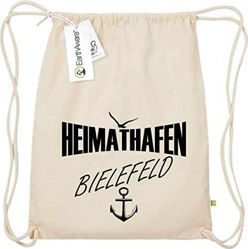 Shirtstown Gymsack, Heimathafen Bielefeld, Bio Fairtrade, Sprüche Spruch Logo Motiv, Turnbeutel Tasche Sport Beutel, Farbe Natur