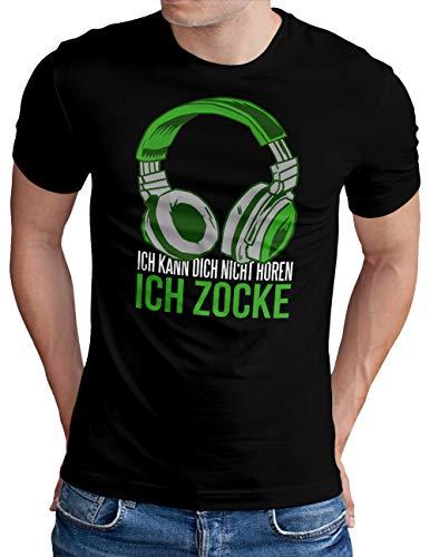 OM3® Gamer-ICH-ZOCKE T-Shirt | Herren | Video Game Console Gaming Headset | Schwarz, M