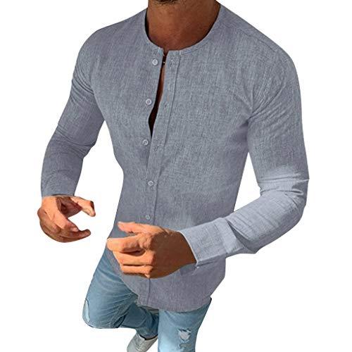 Explosión Otoño Moda Color Sólido El Botón Cuello Redondo Mezcla De Algodón Hombre Manga Larga Camisa Ocio Cárdigans Hombre Tops Camisetas A orillas del mar Al Aire Libre Hombre Ropa MEIbax