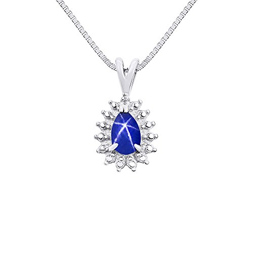 Diamond & Blue Star Sapphire Pendant Necklace In 14K White Gold with 18' Chain