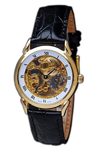 OSCO Armbanduhr Analog Automatik mit Lederarmband (3.4 cm, Weiss/Gold)