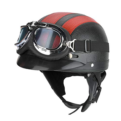 Casco para motocicleta, casco de media cara de motocicleta vintage ABS negro rojo con visera gafas protectoras