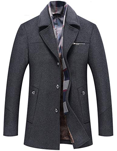 Men's Coat Wool Jacket Single Breasted Winter Pea Coat Detachable Collar Windbreaker 659 Dark Grey XL