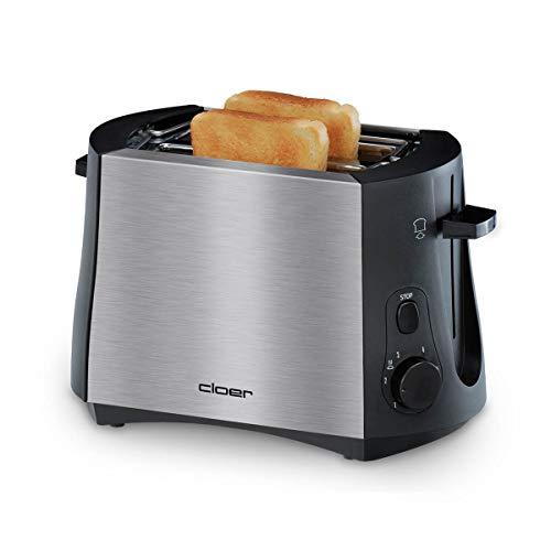 Cloer 3419 Toaster für 2 Toastscheiben, 825 W, integrierter Brötchenaufsatz, Nachhebevorrichtung, Krümelschublade, wärmeisoliertes Edelstahlgehäuse, Schwarz, Edelstahl