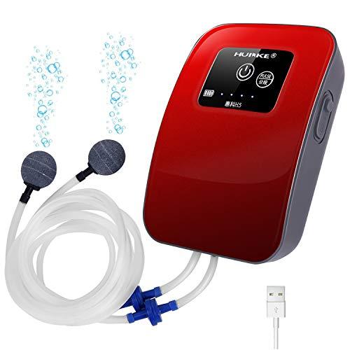 Blueekin リチウム電池 エアーポンプ 金魚 観賞魚 水槽 ポンプ 静音 30db エアポンプ USB充電式 エアレーシ...