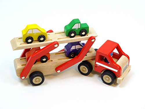 Unbekannt Auto-Transporter mit 4 Auto´s in 4 Farben aus Holz / Maße: 31,5 x 8 x 15,2 cm / für Kinder ab 2 Jahren geeignet