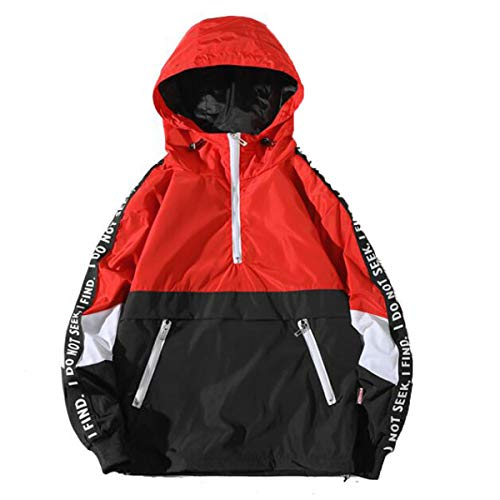 OverDose Damen Herren Herbst Winter Stil Lose Täglich Gym Sport Jogging Mit Kapuze Sturm Mantel Large Size Jacke Funktionsjacke Regenjacken(Rot,56 DE / 3XL CN)
