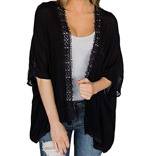 MRULIC Frauen Chiffon Lose Schal Print Kimono Cardigan Top Cover Up Bluse Beachwear (EU-46/CN-2XL, Y-Schwarz)