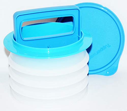 Tupperware Hamburger Patty Press with 4 Containers Blue
