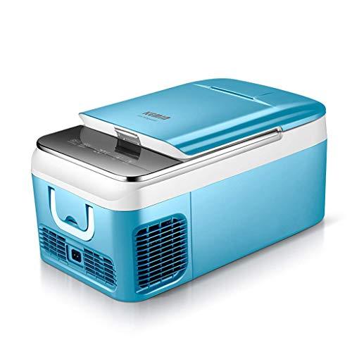 TUNBG Mini-koelkast, 18 liter/26 liter, 12 V/24 V/220 V, mini-koelkast, kleine wagen, koelkast, vrieskast, grijs/blauw