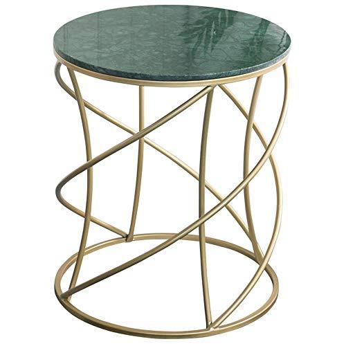 QFWM Mesa auxiliar de mármol nórdico, mesa auxiliar para sala de estar, muebles modernos, sofá, mesa redonda de lectura, comedor, aperitivos, mesas de café, función práctica (color: verde, tamaño: S)