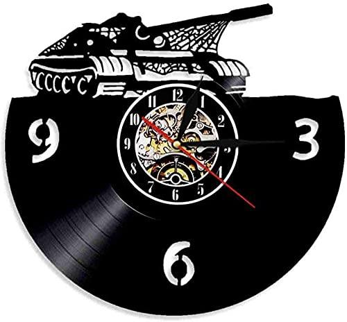 Main Battle Tank reloj de pared militar tanque de batalla vinilo registro pared reloj de batalla tanque decoración regalo para personal militar